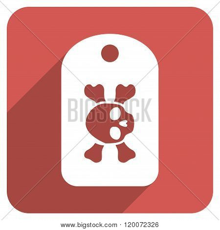 Morgue Tag Flat Rounded Square Icon with Long Shadow