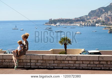Mother With Sun On Promenade