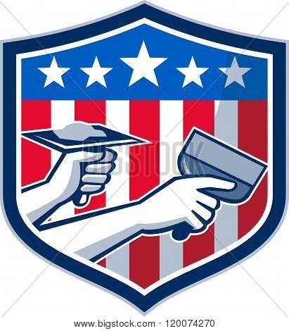 Drywall Repair Service American Flag Shield Retro