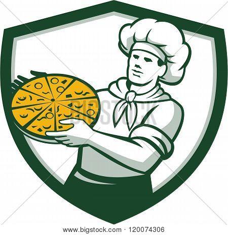 Pizza Chef Holding Pizza Shield Retro