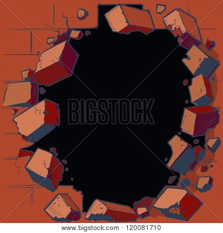 Hole Breaking Through Red Brick Wall