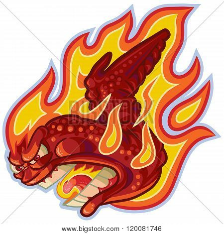 Screaming Buffalo Or Hot Wing On Fire Vector Cartoon Illustration