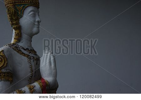 Stone figure of a Buddhist monk Wat Laem Suvannaram. Thailand.