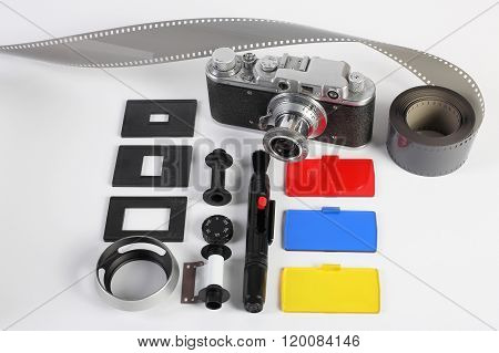 Workplace Of The Photographer. Photo Accessories, Retro Camera