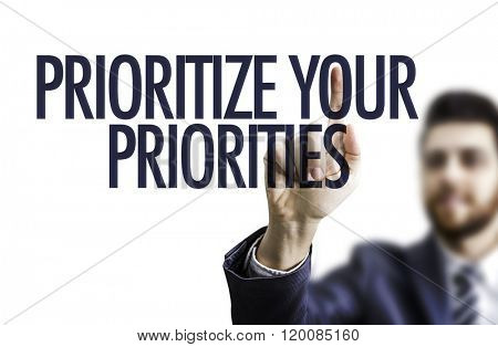 Business man pointing the text: Prioritize Your Priorities