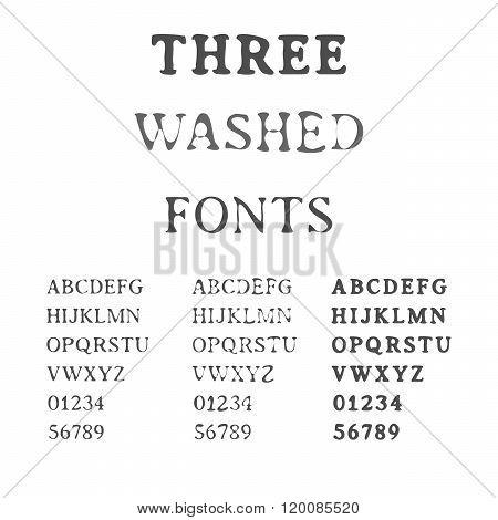 Three Handdrawn Fonts. Washed Latin Alphabet Set. Ink Typefaces.