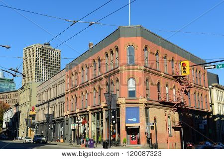 VANCOUVER - NOV 13, 2014: Gastown crossroad of W Cordova St and Cambie St, with Waterfront Centre at the background in Vancouver, British Columbia, Canada.