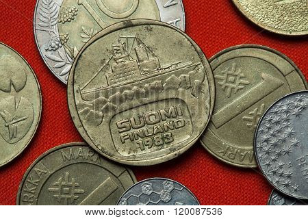 Coins of Finland. Icebreaker Urho depicted in the Finnish five markka coin (1983). poster
