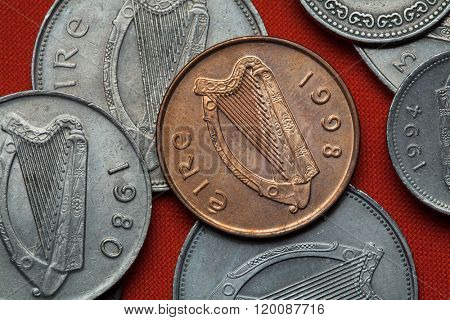 Coins of Ireland. Celtic harp depicted in the Irish pound coins. poster