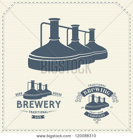 Set - beer brewery elements, icons, logos. Vector