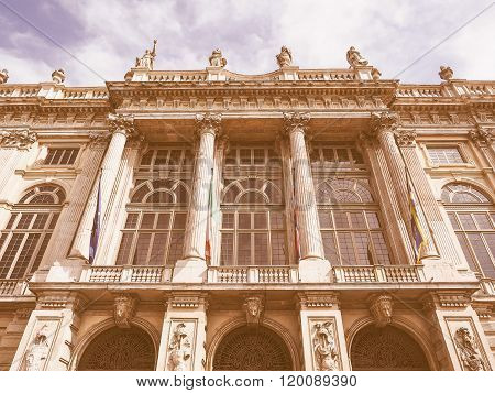 Vintage looking Palazzo Madama Royal palace in Piazza Castello Turin Italy poster