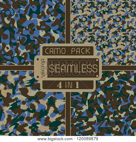 War Urban Camouflage Pack 4 In 1 Seamless Vector Pattern. Can Be Used For Wallpaper, Pattern Fills,