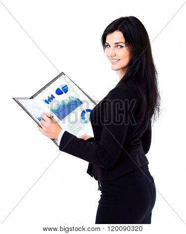 business woman holding document on clipboard