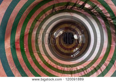 Psychedelic hypnosis swirl eyeball optical illusion background