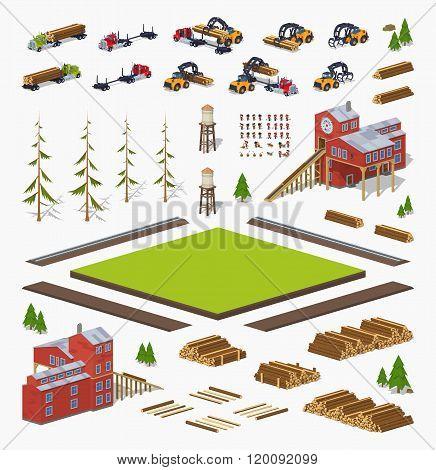 Lumber mill construction set
