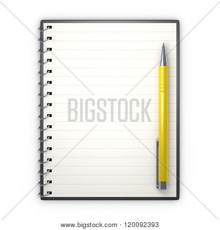 An image of a notepad and a ballpen poster