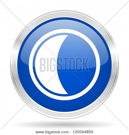 moon blue silver metallic chrome web circle glossy icon