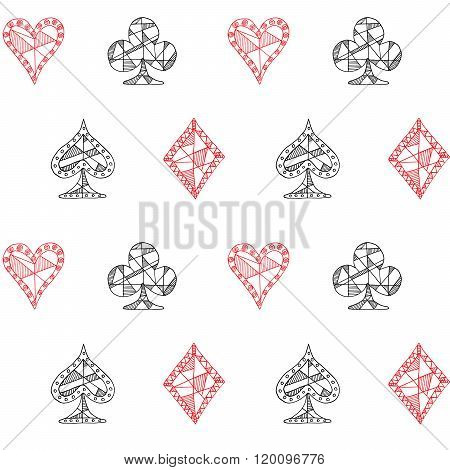 Hand Drawn Sketched Playing Cards Symbol Seamless Pattern, Poker, Blackjack Background, Doodle Heart