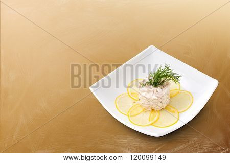 Seafood salad on a brown background