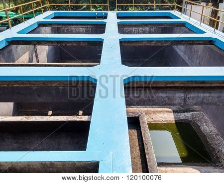 Empty Of Water Filtration Plant.