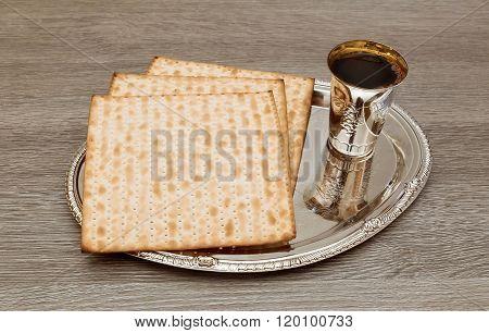 Still-life With Wine And Matzoh Jewish Passover Bread