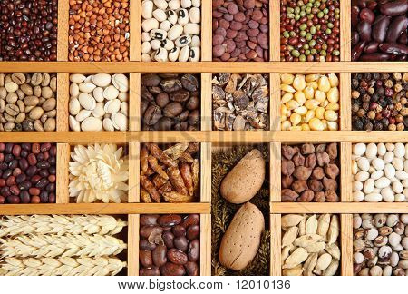 Indian spices, beans, grains and seeds