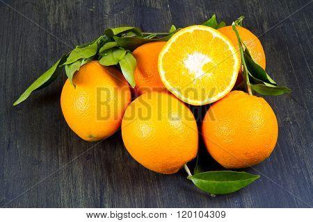 orange fruit and fresh tangerines oranges on wood