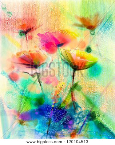 Abstract Flower Watercolor Painting