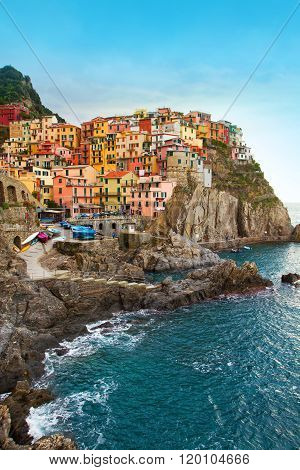 a beautiful view of a town in cinque terre liguria Italy