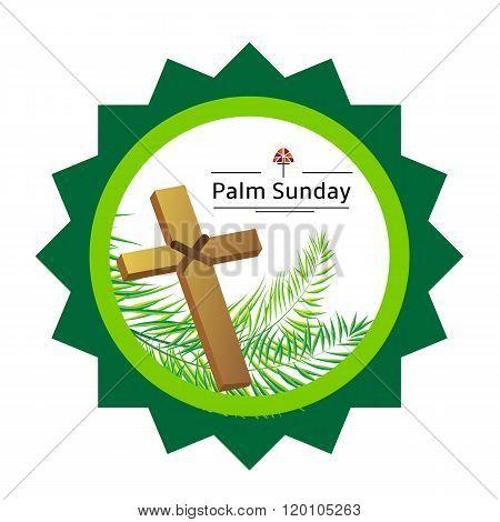 Palm sunday emblem isolated on white, vector illustration