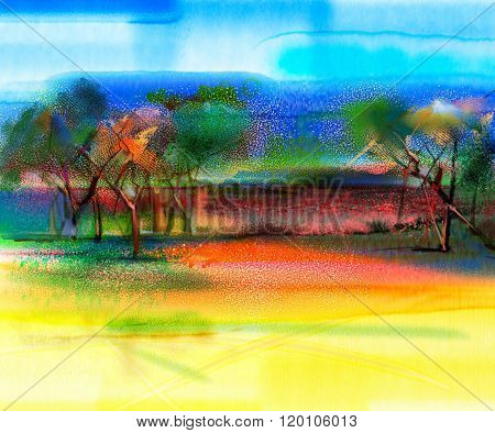Abstract Colorful Landscape Painting