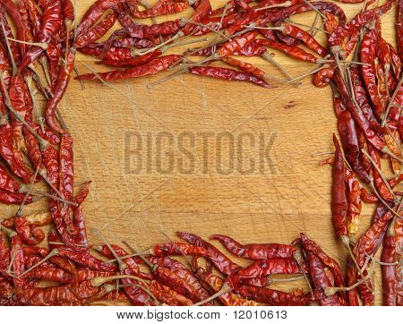 Dried red chillies frame