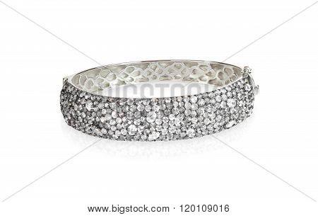 Crystal Diamond Wide Bangle braceket isolated on white