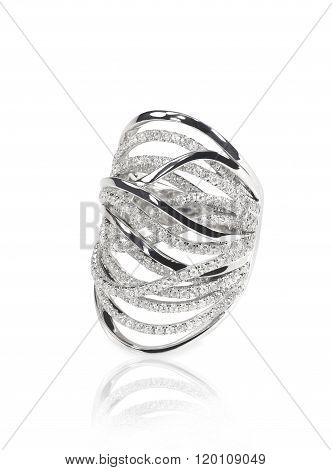 Diamond encrusted engagment wedding anniversary ring isolated on a white background with a reflection poster