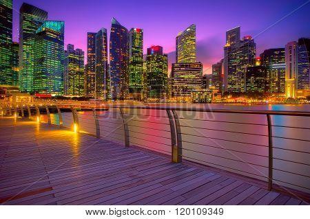 Singapore marina at sunset