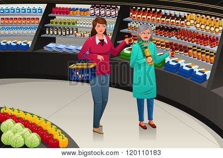 Girl And Grandmother Going Grocery Shopping