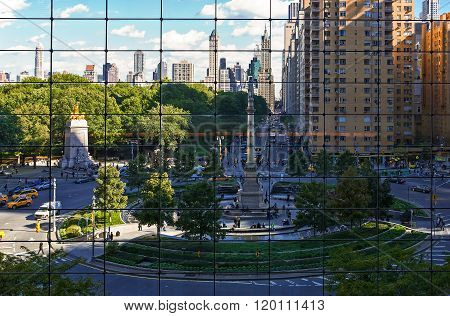 U.S.A., New York, Manhattan, Columbus Circle area seen from the Warner Center.