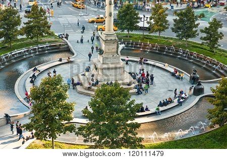 New York, U.S.A. - October 7, 2010: Manhattan, the Columbus Circle square seen from the Lincoln Jazz Center.