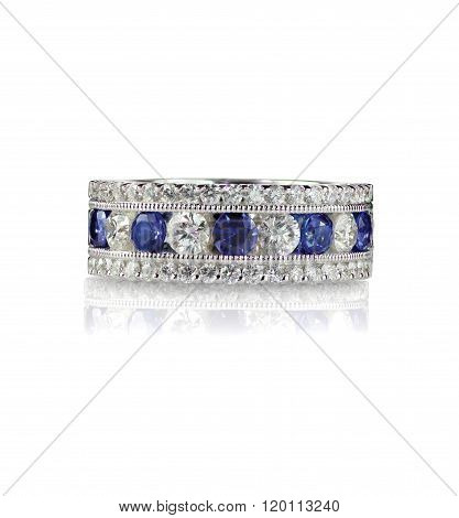 Sapphire and diamond wedding anniversary band isolated on white poster