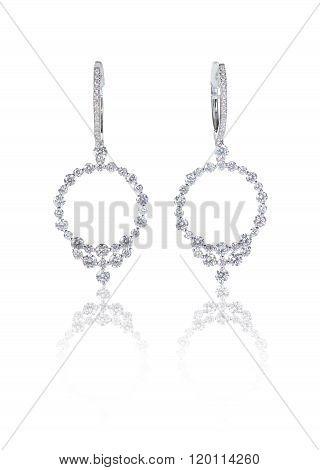 Diamond hoop dangle pave elaborate bridal earrings isolated on white