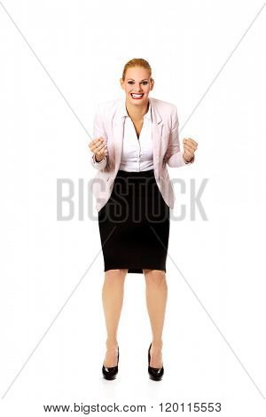 Agressive young business woman screaming