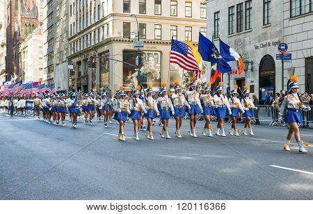 New York U.S.A. - October 10 2010: Manhattan, 5th avenue, the parade of the Hispanic Comunity