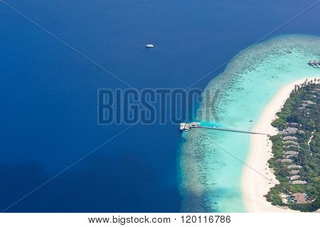 Aerial view on Maldives island, Raa atol
