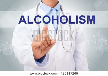 Doctor hand touching alcoholism sign on virtual screen. medical concept