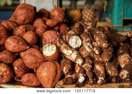 Vegetable Market With Yams