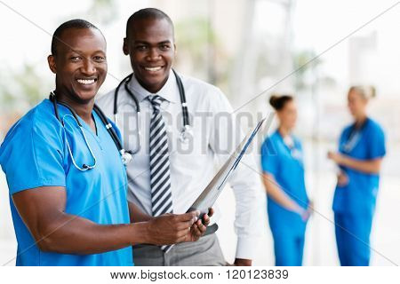portrait of african american medical workers working together