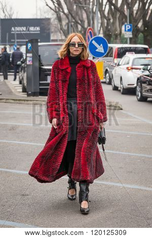 Fashionable Woman Outside Emporio Armani Fashion Show During Milan Fashion Week 2016