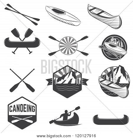 Set Of Canoeing Labels And Design Elements