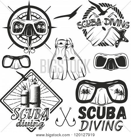Vector set of scuba diving center labels in vintage style. Sport underwater equipment, mask, fins, t
