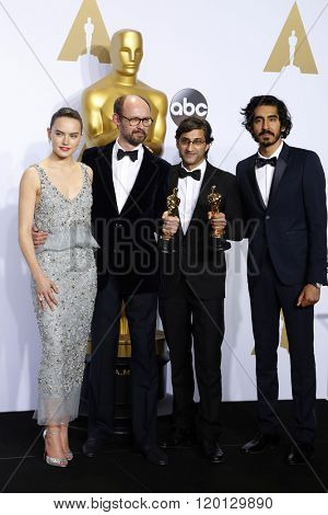 LOS ANGELES - FEB 28:  Daisy Ridley, James Gay-Rees, Asif Kapadia, Dev Patel at the 88th Annual Academy Awards - Press Room at the Dolby Theater on February 28, 2016 in Los Angeles, CA
